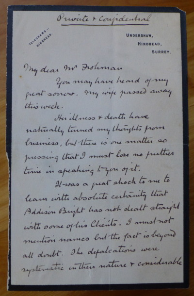 "Autograph Letter Signed to ""My dear Mr. Frohman"" A. Conan Doyle."