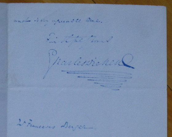 "Autograph Letter Signed, to composer ""Mr. Francesco Berger."" Charles Dickens."