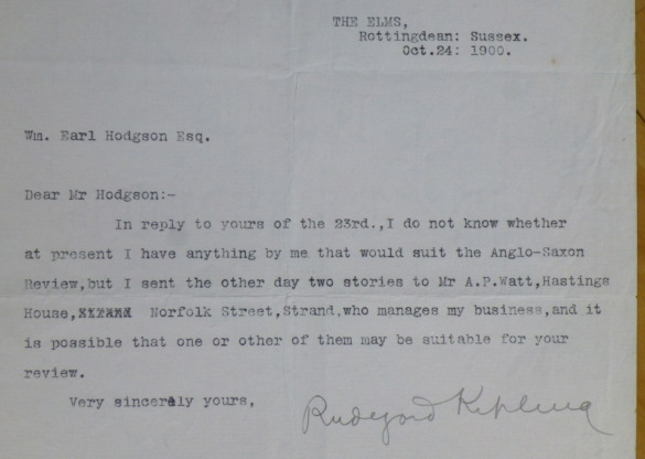"Typed Letter Signed, to ""Wm. Earl Hodgson Esq."" Rudyard Kipling."