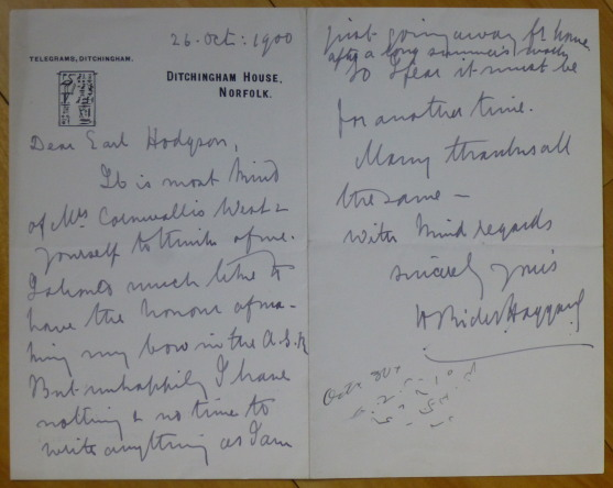 """Autograph Letter Signed, to """"Dear Earl Hodgson"""" H. Rider Haggard."""