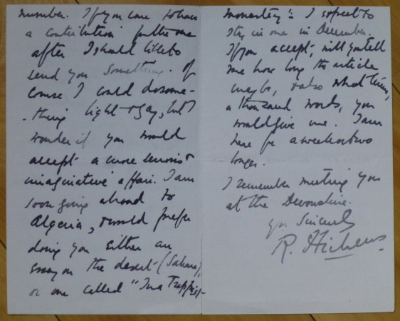 "Autograph Letter Signed, to ""Dear Mr. Earl Hodgson"" Robert Hichens."