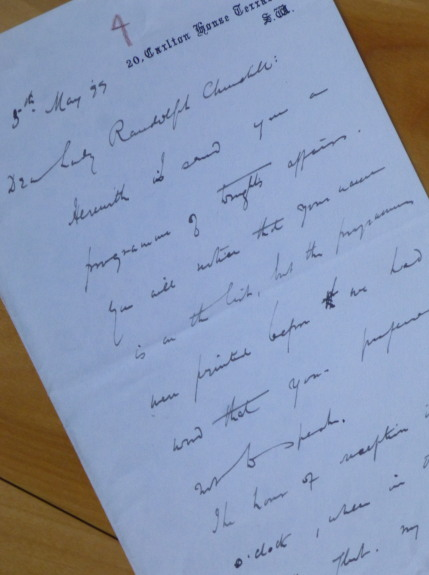 "Autograph Letter Signed, to ""Dear Lady Randolph Churchill."" Gilbert Parker."