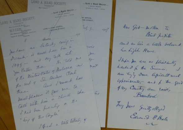 "Two Autograph Letters Signed, to ""Dear Miss Dodge"" Edward E. Hale."