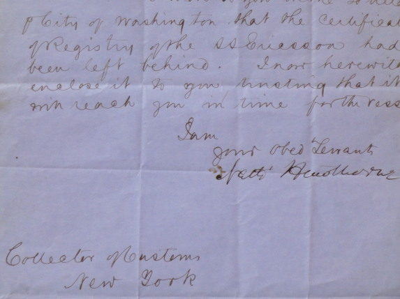"Autograph Letter signed (""Nath' Hawthorne""), to ""Dear Sir"" (""Collector of Customs / New York""). Nathaniel Hawthorne."