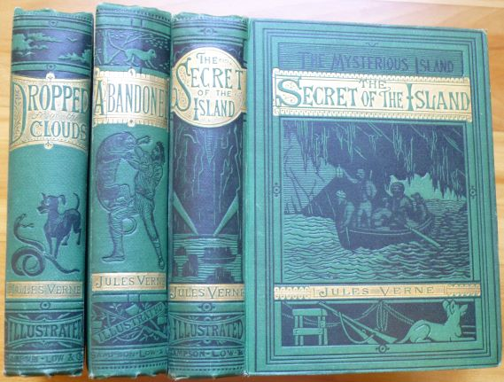 THE MYSTERIOUS ISLAND. [consisting of:] Part I. DROPPED FROM THE CLOUDS. [plus:] Part II. ABANDONED. [plus:] Part III. THE SECRET OF THE ISLAND. Jules Verne.