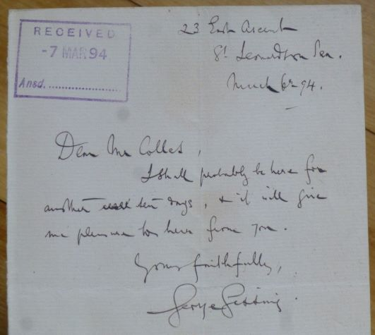 """Autograph Letter signed, to """"Dear Mr Colles"""" George Gissing."""