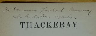 THACKERAY [inscribed by Trollope].