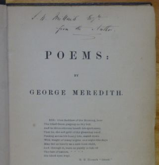 POEMS [inscribed by Meredith]. George Meredith