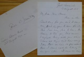 Autograph Letter Signed, plus additional dated autograph. Sarah Orne Jewett
