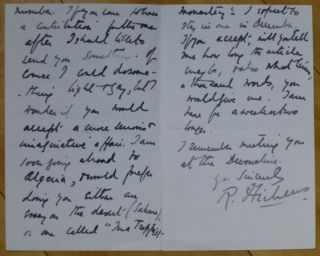 "Autograph Letter Signed, to ""Dear Mr. Earl Hodgson"" Robert Hichens"