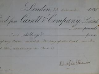 "Publisher's Receipt Signed -- for ""A Song of the Road"" Robert Louis Stevenson"