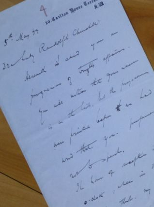 "Autograph Letter Signed, to ""Dear Lady Randolph Churchill."" Gilbert Parker"