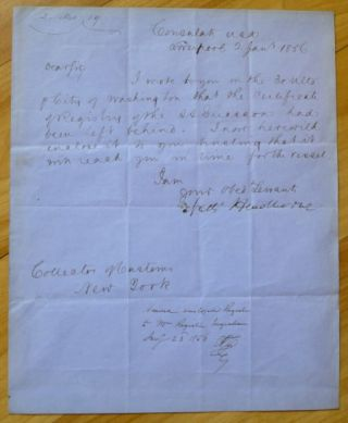 "Autograph Letter signed (""Nath' Hawthorne""), to ""Dear Sir"" (""Collector of Customs / New York"")."