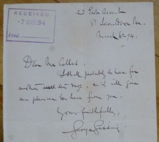 "Autograph Letter signed, to ""Dear Mr Colles"" George Gissing"